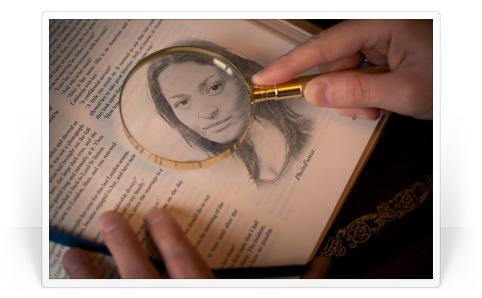 Efeito da foto de uma foto no livro sob uma lupa.