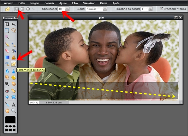 faixa transparente no photoshop