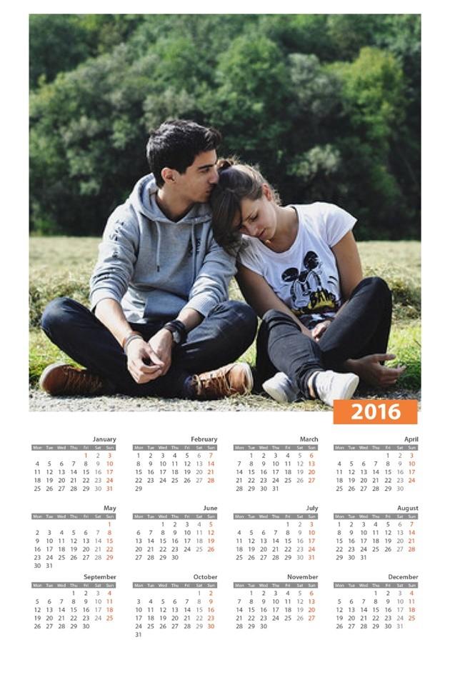 montagem de calendário 2016 com sua foto